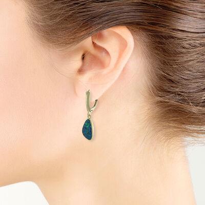 Opal Doublet Dangle Earrings 14K