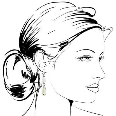 Green Quartz Dangle Earrings 14K