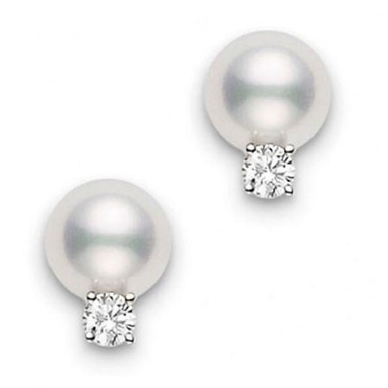 Mikimoto Akoya Cultured Pearl & Diamond Earrings 6mm, A+, 18K