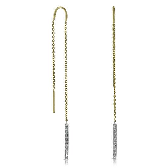 Bar Dangle Diamond Earrings 14K