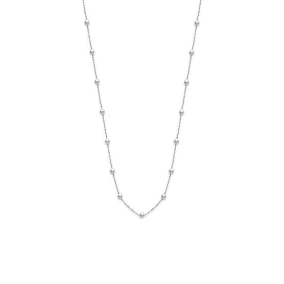 Mikimoto A+ Akoya Cultured Pearl Station Necklace 18K
