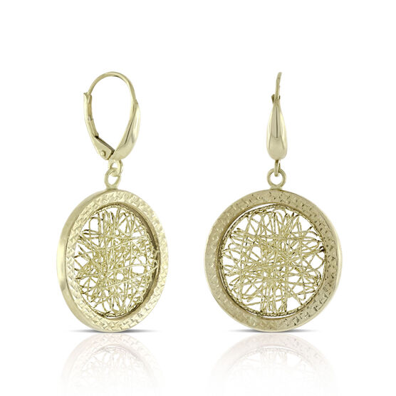 Toscano Medallion Webbed Earrings 14K