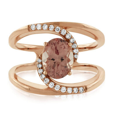 Rose Gold Lotus Garnet & Diamond Ring 14K