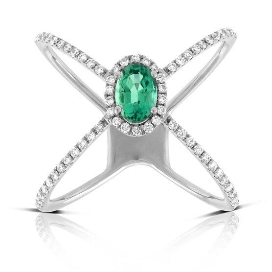 Emerald & Diamond Criss-Cross Ring