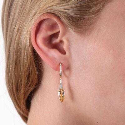Marquise Citrine & Diamond Drop Earrings 14K
