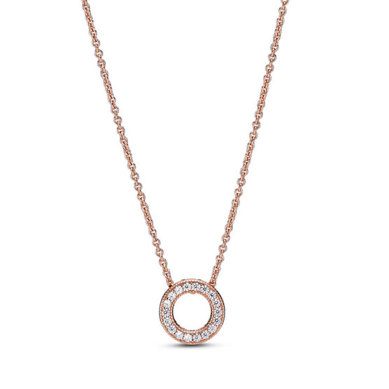 Pandora Rose™ Logo Pavé CZ Circle Collier Necklace