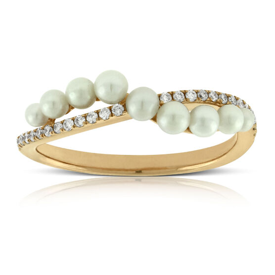 Rose Gold Cultured Freshwater Pearl & Diamond Ring 14K