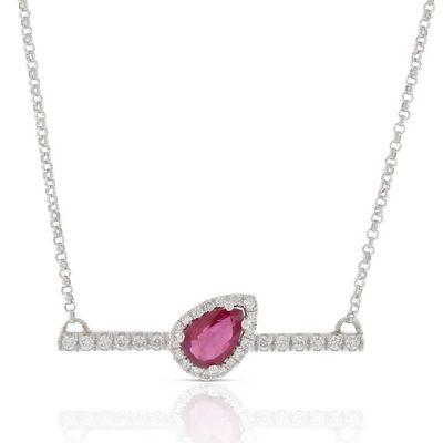 Slanted Pear-Shaped Ruby & Diamond Bar Necklace 14K