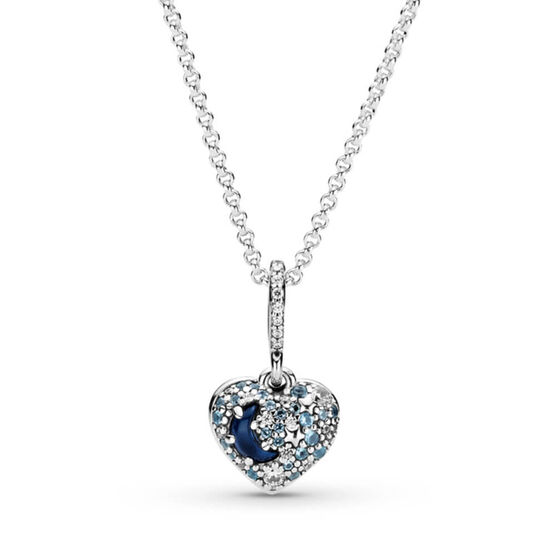 Pandora Sparkling Blue Moon & Stars Crystal & CZ Heart Necklace