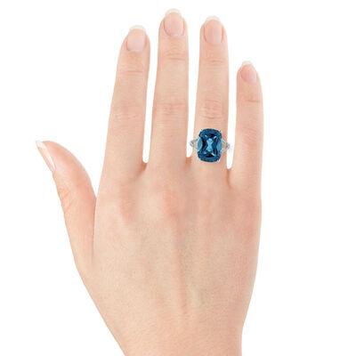Cushion Blue Topaz & Diamond Ring in White Gold 14K