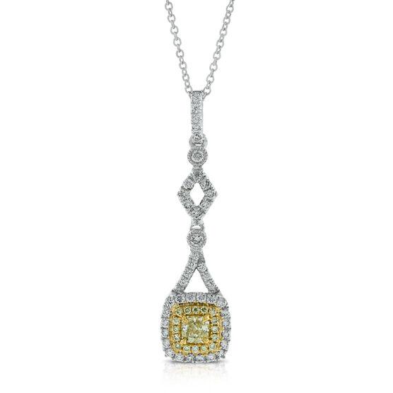 Radiant Cut Yellow Diamond Pendant 18K