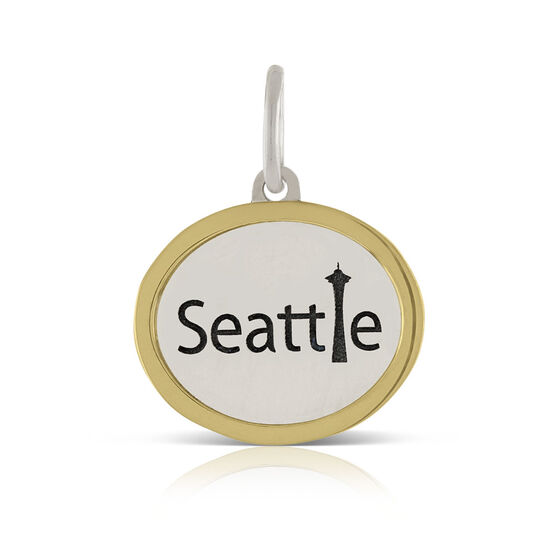 Seattle Space Needle Charm / Pendant, Silver & 14K