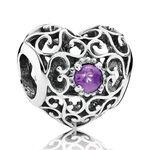 Pandora February Signature Heart Charm