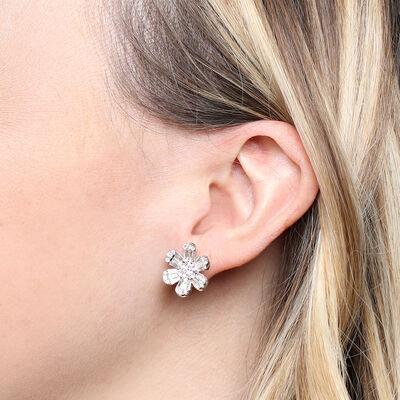 Six Petal Diamond Flower Earrings 14K