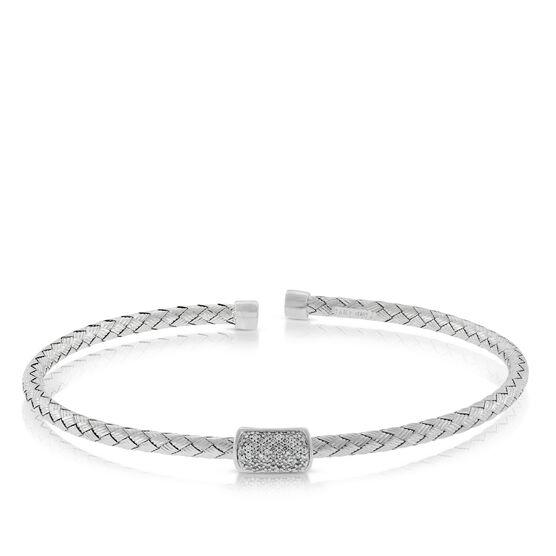 Woven Cuff Diamond Bangle 14K