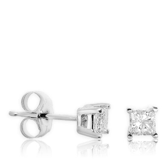 Princess Cut Diamond Earrings 14K, 1/2 ctw.