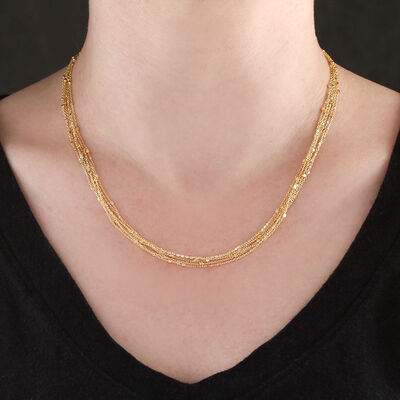 Six Strand Cube Station Necklace 14K