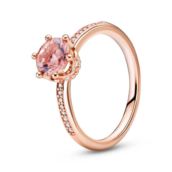 Pandora Pink Sparkling Crown Solitaire Crystal & CZ Ring