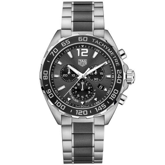 TAG Heuer Formula 1 Quartz Mens Grey Steel Black Ceramic Chronograph Watch