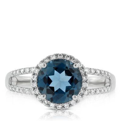 Blue Topaz & White Sapphire Ring 14K