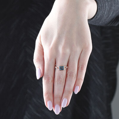 Rose Gold London Blue Topaz & Diamond Ring 14K