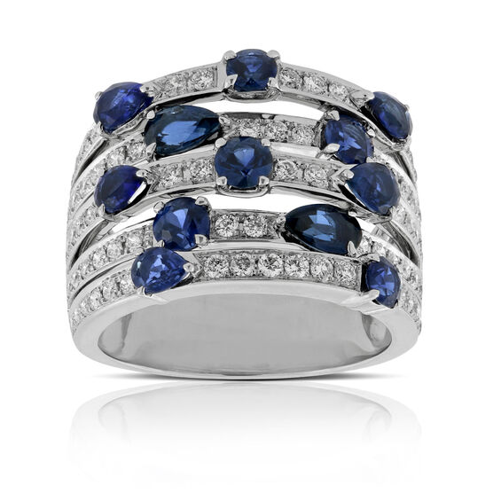 Sapphire & Diamond Multi-Row Ring 14K
