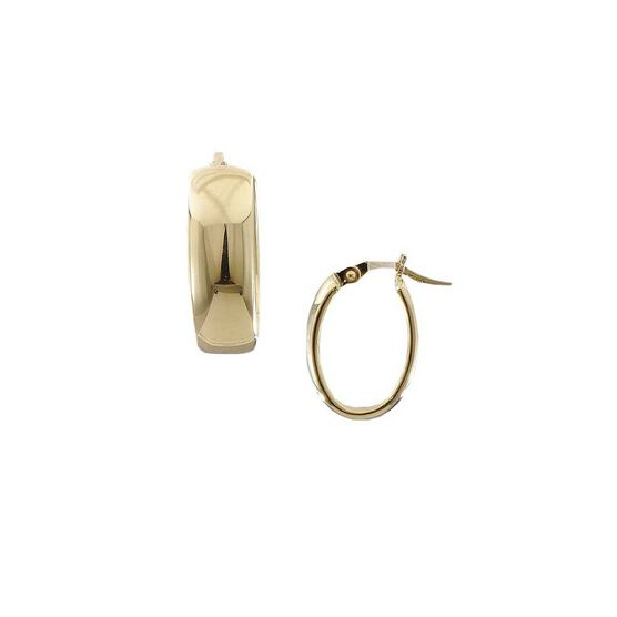 Roberto Coin Designer Gold Wide Oval Hoop Earrings 18K