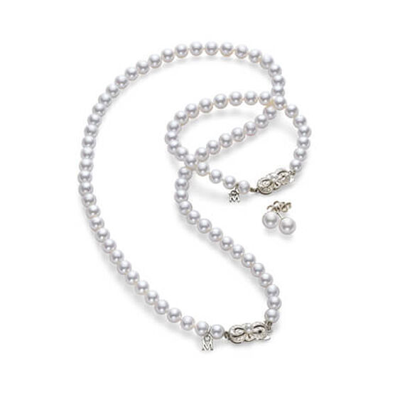 Mikimoto Akoya Cultured Pearl 3 Piece Set 18K