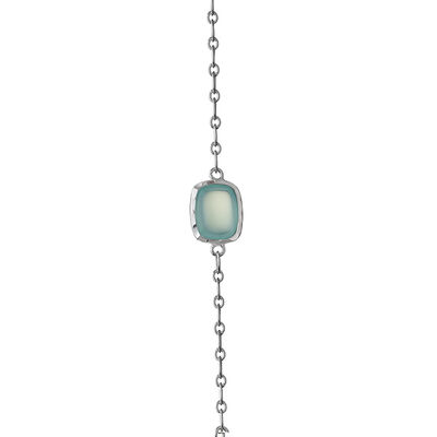 Lisa Bridge Chalcedony & Blue Lace Agate Station Necklace, 36""