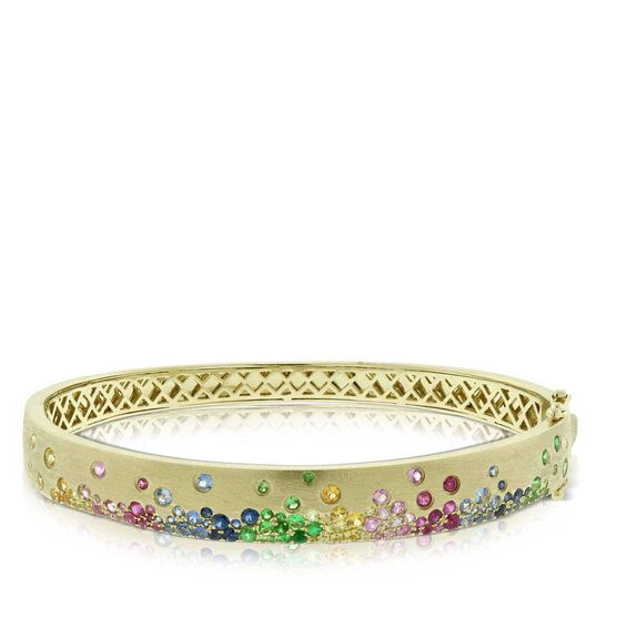 Rainbow Sapphire Bangle 14K