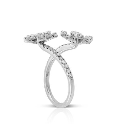Diamond Flower Bypass Ring 14K