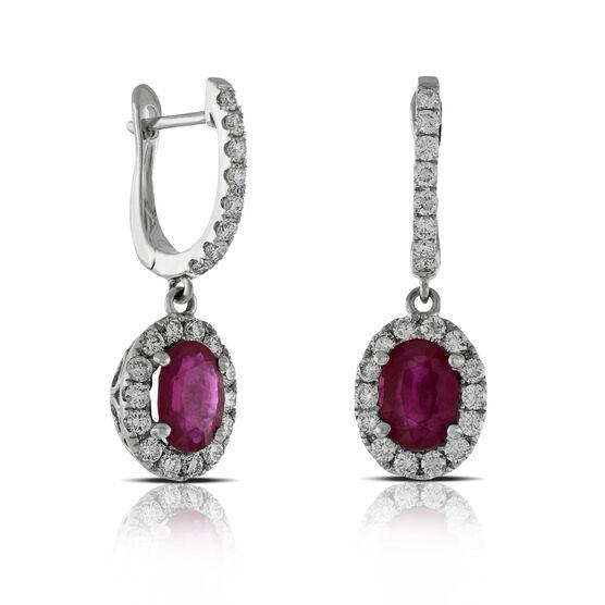 Ruby & Diamond Drop Earrings 14K