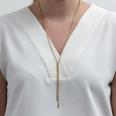 Toscano Sliding Bar Lariat Necklace 14K, 26""