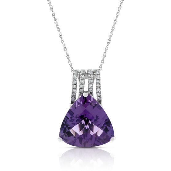 Trilliant Amethyst & Diamond Pendant 14K