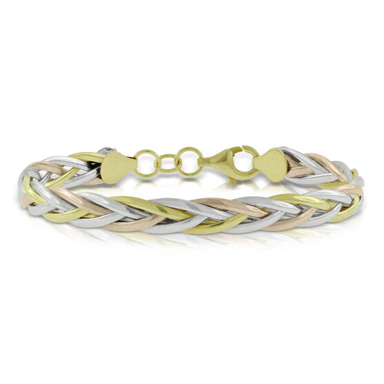 Toscano Braided Tri-Color Bracelet 14K
