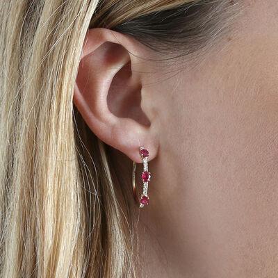 Oval Ruby & Diamond Hoop Earrings 14K