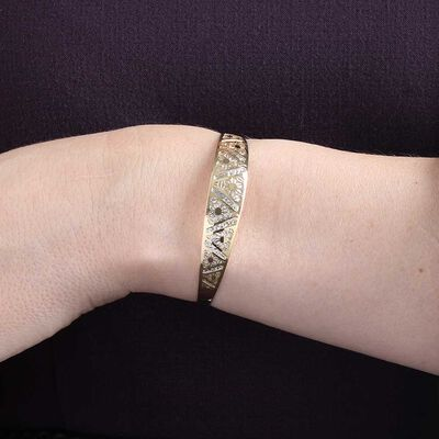 Toscano Laser Cut Out Bangle 14K