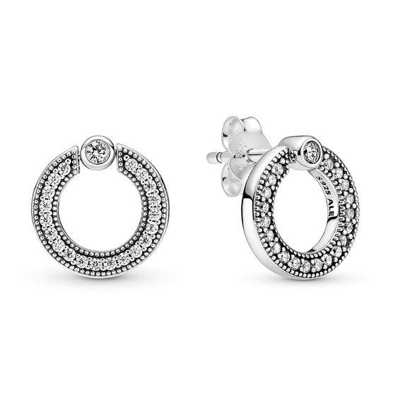 Pandora Pavé CZ & Logo Circle Reversible Stud Earrings