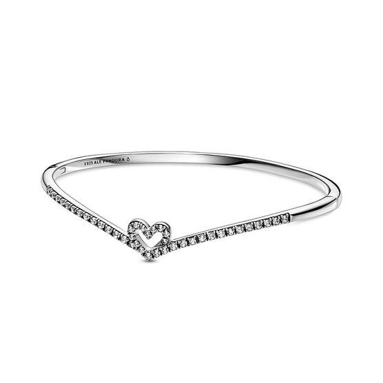 Pandora Sparkling Wishbone Heart CZ Bangle
