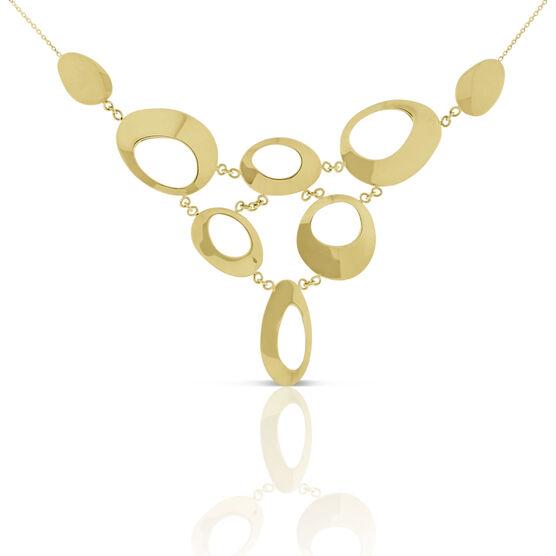 Polished Open Bib Necklace 14K