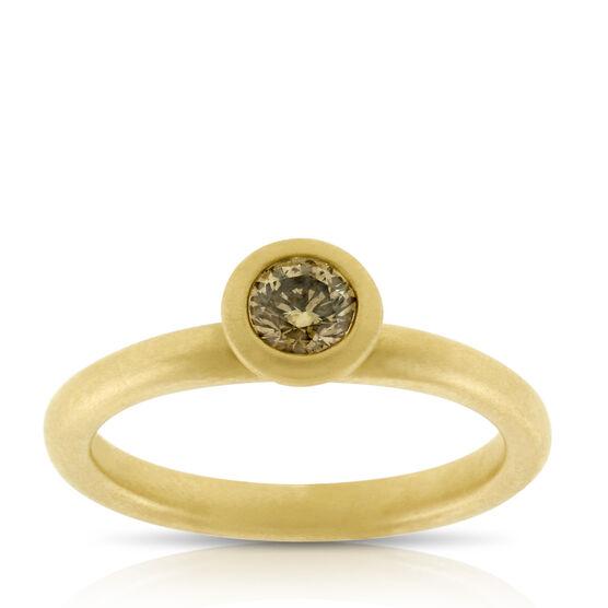 Bezel Brown Diamond Ring 14K