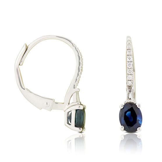Oval Sapphire & Diamond Drop Earrings 14K