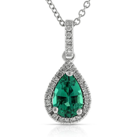 Pear Shape Emerald & Diamond Halo Pendant 14K