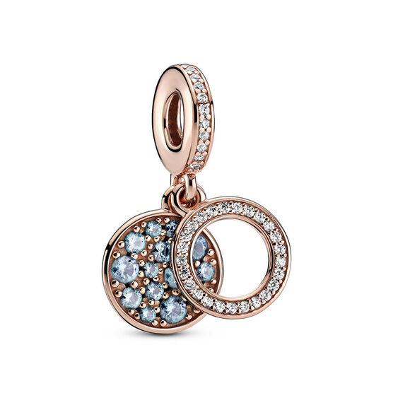 Pandora Rose™ Sparkling Light Blue Disc Crystal & CZ Double Dangle Charm