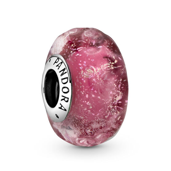 Pandora Wavy Fancy Pink Murano Glass Charm