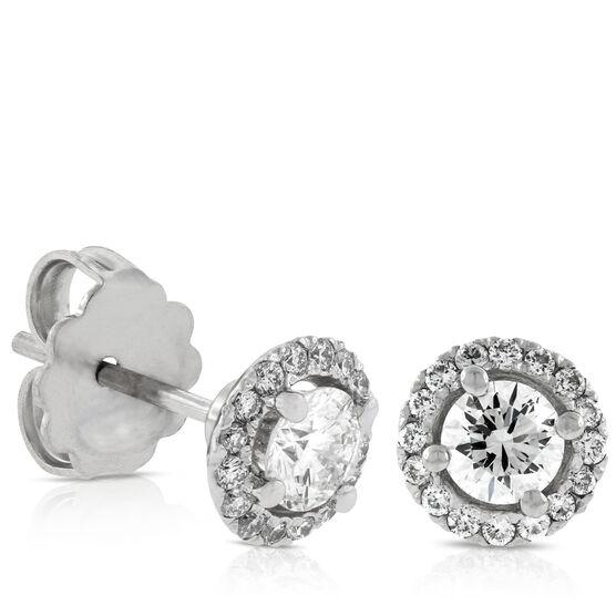 Signature Forevermark Diamond Halo Earrings 18K, 1/2 ct. Center