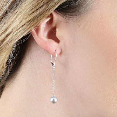 Gray Cultured Akoya Pearl Drop Earrings 14K