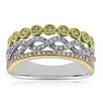 Tri-Color Three Row Diamond Band Ring 14K