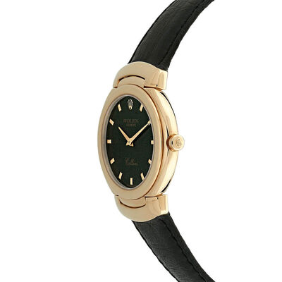 Pre-Owned Rolex Cellini Slate Dial Watch, 32mm, 18K