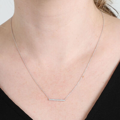 Station Bar Diamond Necklace 14K